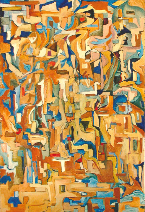 dlya-kopii.jpg - Painting,  47.2x31.5x0.4 in ©2003 by lubalem -                                                                                Abstract Art, Abstract Expressionism, Cubism, Modernism, Abstract Art, ochre, absract, biue