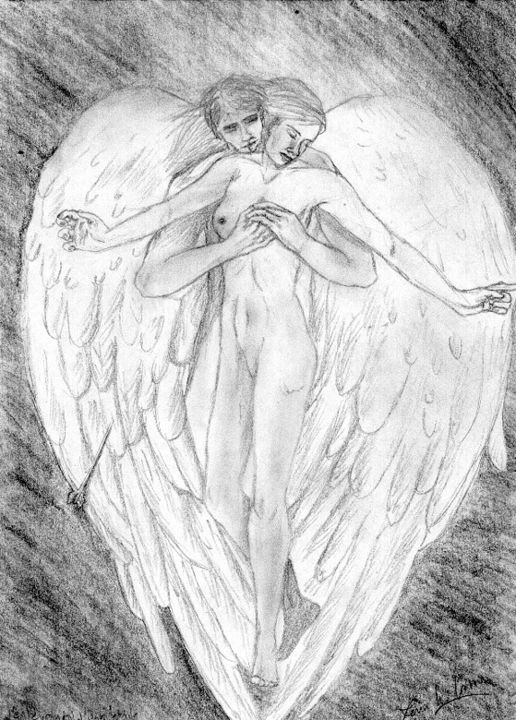 anges - Drawing,  11.7x8.3 in ©2006 by Léna h. Coms -                                                                                Figurative Art, Surrealism, Symbolism, Love / Romance, Angels, couple, flèches