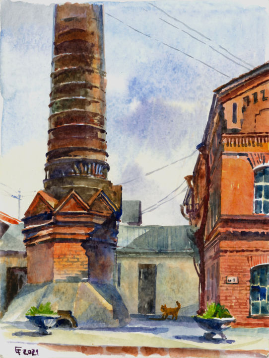 """Painting titled """"Old Factory"""" by Elena Tolunay, Original Art, Watercolor"""