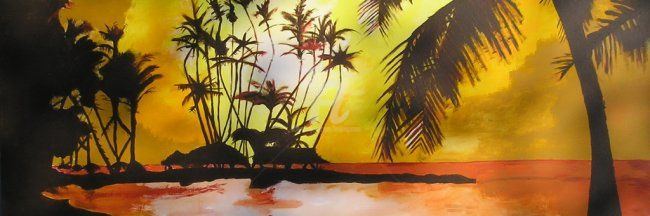 Tropical Sunset - Painting, ©2007 by Lenka Graner -                                                              Yellow Tropical Sunset