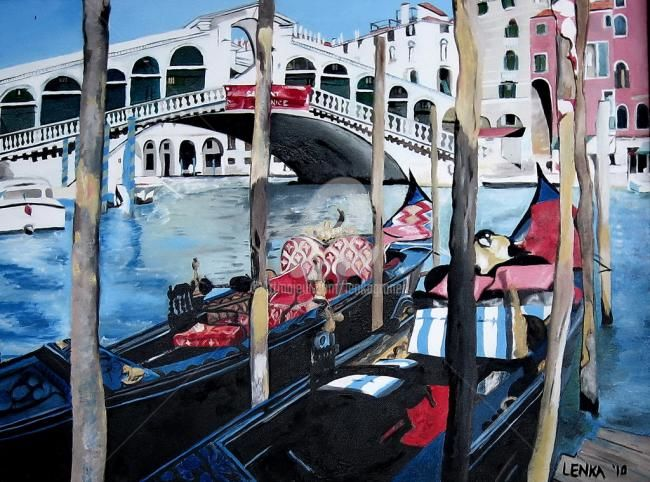 Two Gondolas and the Rialto Bridge - Painting,  36x48 in, ©2010 by Lenka Graner -                                                                                                                                                                                                      Cities, Two Gondolas and the Rialto Bridge, Venice, Italy