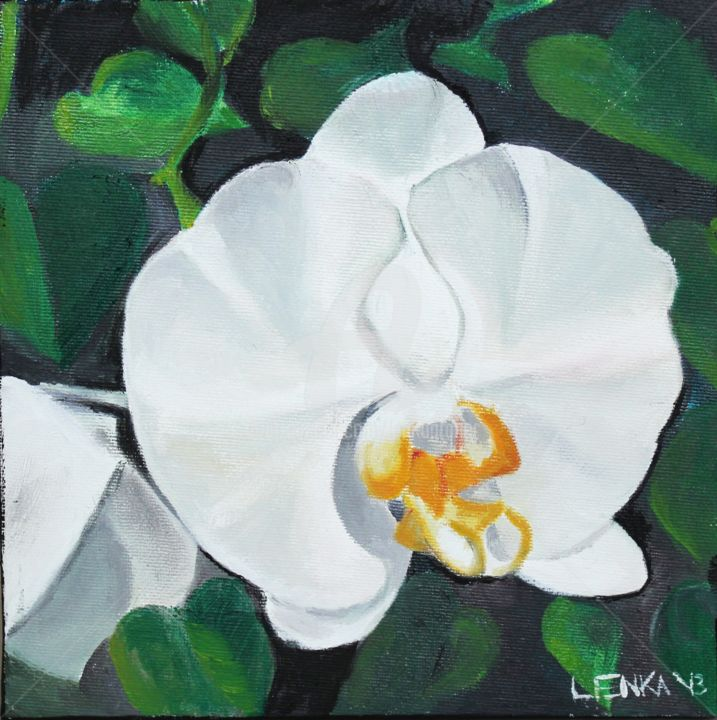 One White Orchid - Painting,  7.9x7.9x0.8 in, ©2012 by Lenka Graner -                                                                                                                                                                                                                                                                                                                                                                                                          Figurative, figurative-594, Flower, Orchid, white orchid, flower, hawaii, tropical