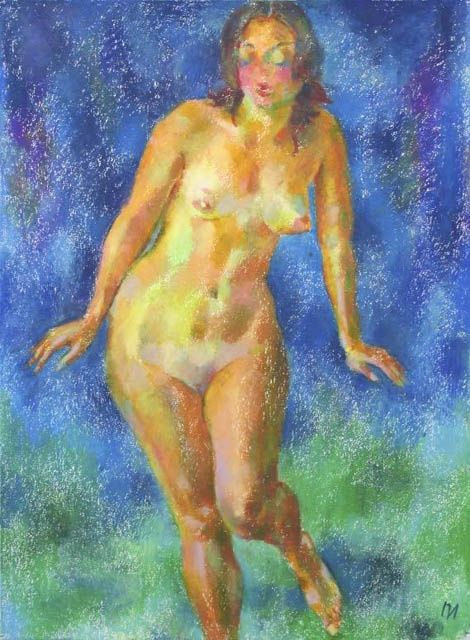 Painting,  52 x 73 cm ©2007 by Leonid Petrushin -  Painting, Nudes in Art, NU83, oil pastel, grain torchon
