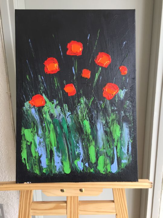 """Painting titled """"night poppies"""" by Leonid Shver, Original Art,"""