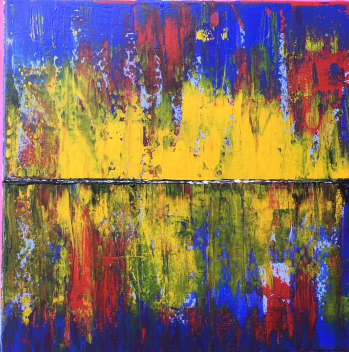 """Painting titled """"land in fire"""" by Leonid Shver, Original Art,"""