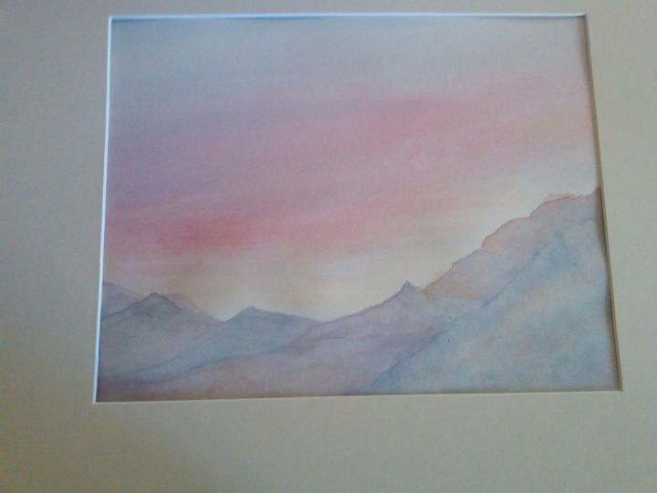 """Painting titled """"marinsunsetwatercol…"""" by Leona Dadian Akers, Original Art,"""