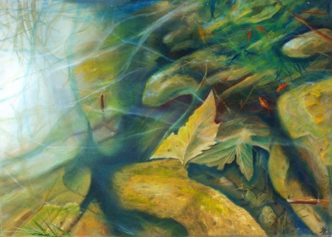 Pond - Painting,  24x33.1 in, ©2004 by Leonard Aitken -                                                                                                                                                                          Figurative, figurative-594, pond fish goldfish water pool lake rocks leaves leaf rock pebble realism brown color reflection refraction sticks red fish