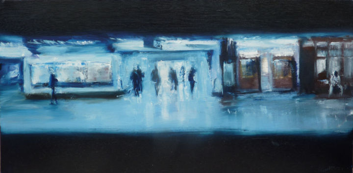 Petit RER - Painting,  11.8x23.6 in, ©2014 by Manuel Leonardi -                                                                                                                                                                          Expressionism, expressionism-591, Transportation