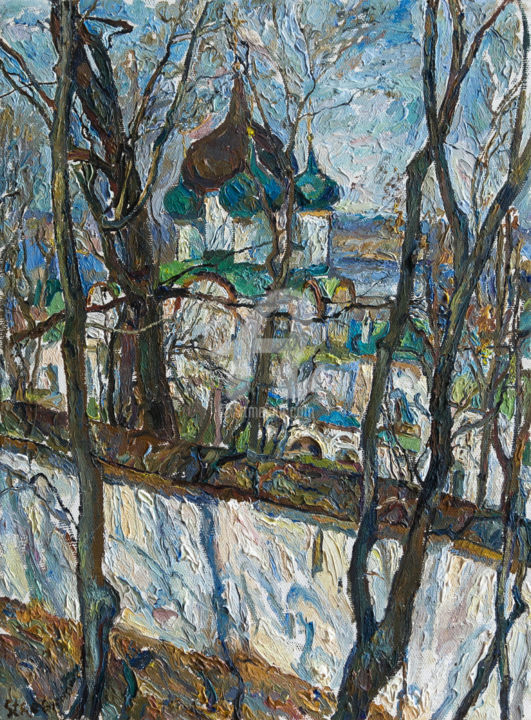 Ascension Pechersky Monastery - Pittura,  40x30 cm ©2019 da Leonid STROGANOV -                                            Realismo, Paesaggio, alley, August, avenue, bridge, building, bus, car, city, cottage, day, district, garden, heat, highway, house, July, June, Landscape, nature, oven