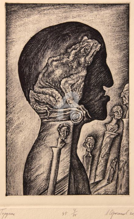 Pride. Series Seven Deadly Sins - Incisioni, stampe,  6,7x4,3 in, ©2013 da Leonid STROGANOV -                                                                                                                                                                                                                                                                                                                                                                                                                                                                                                                                                                                                                                                                                                                                                                                                                                                                                                              Figurative, figurative-594, Culture del mondo, Stroganov,  Realism,  Genre,  etching,  printing,  limited,  nude,  edition,  drawing,  lithography,  aquatint,  drawing,  drypoint,  book,  libris,  ExLibris