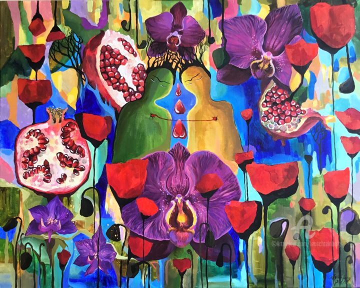 Love - © 2019 symbolism, cosmic, universe, shiluette, orchid, orchids, poppy, violet, connection, friendship, leo schteinberg, leoschteinberg, pomegranate Online Artworks