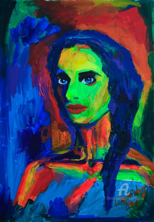 My Other Self - Painting,  19.7x13.8x0.8 in, ©2017 by Leo Schteinberg -                                                                                                                                                                                                                                                                                                                                                                                                                                                                                                                                                                                                                                                                                                                                                                          Expressionism, expressionism-591, People, Portraits, Rural life, Still life, Women, thoughts, inside, female, eyes, other self, beauty, schteinberg, leoschteinberg, leo schteinberg