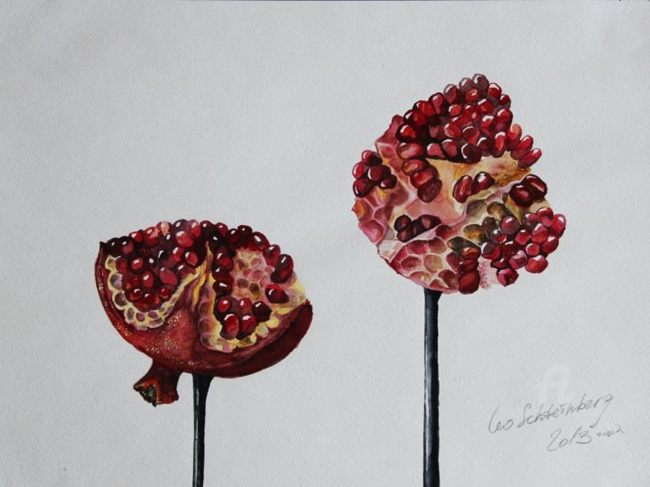 Grenades on the Support - Drawing,  11.8x16.5 in, ©2013 by Leo Schteinberg -                                                                                                                                                                                                                                                                                                                                                                                                                                                                                                                                                                                                                                                                                                                                                                                                                      Symbolism, symbolism-1020, Botanic, Light, Nature, Outer Space, Still life, pomegranate, timeless, happiness, eternity, shades of red, cosmic, fruits, forever, leoschteinberg, leo schteinberg