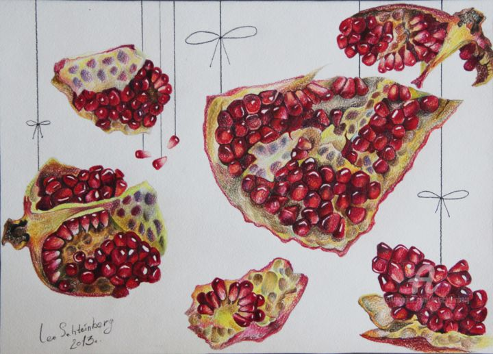 Grenades on Threats: Temporary Sensations - Drawing,  11.8x16.5 in, ©2013 by Leo Schteinberg -                                                                                                                                                                                                                                                                                                                                                                                                                                                                                                                                                                                                                                                                                                                                                                                                                      Symbolism, symbolism-1020, Botanic, Interiors, Nature, Outer Space, Still life, mystery, shades of red, timeless, forever, fruits, cosmic, atmospheric, leo schteinberg, leoschteinberg, pomegranate