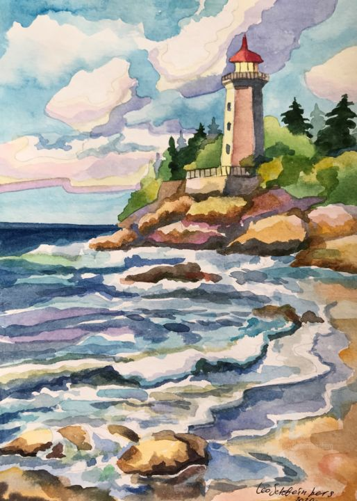 LIGHTHOUSE. Watercolor 29.7*21 cm - Painting,  11.7x8.3 in, ©2020 by Leo Schteinberg -                                                                                                                                                                                                                                                                                                                                                                                                                                                                                                                                                                                                                                                                                                                                                                                                                                                                                                                                                          Classicism, classicism-933, Light, Nature, Seascape, Travel, Water, sea, ocean, marine, waves, beach, blue, yellow, violet, seashore, leo schteinberg, leoschteinberg, ArtistSupportPledge, Support Artists