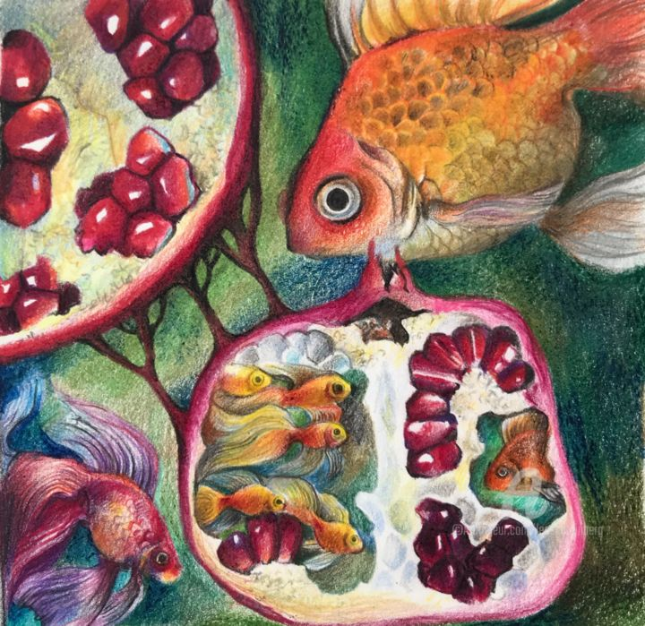 WHIRPOOL OF WISHES AND INVISIBLE FIGHT. Pencil on paper - Drawing,  5.4x5.4 in, ©2020 by Leo Schteinberg -                                                                                                                                                                                                                                                                                                                                                                                                                                                                                                                                                                                                                                                                                                                                                                                                                                                                                                                                                                                                      Surrealism, surrealism-627, Colors, Fish, Nature, Water, pomegranate, surreal art, unusual gift, underwater, small original painting, leo schteinberg, leoschteinberg, ArtistSupportPledge, Support Artists, goldfish, golden fish, sea life, watercolor fish, animal art, animal illustration