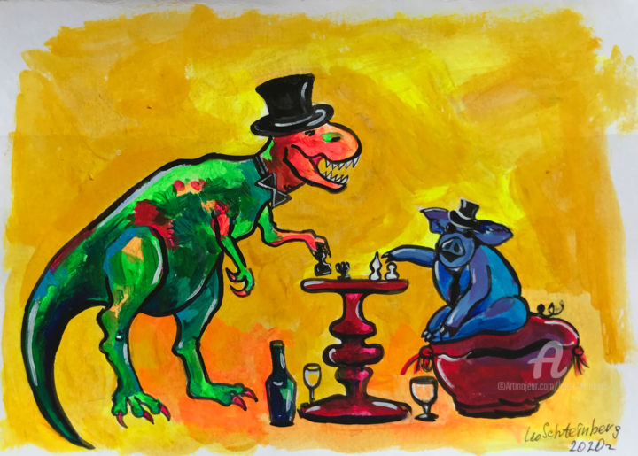 Intellectuals - Painting,  8.3x11.7 in, ©2020 by Leo Schteinberg -                                                                                                                                                                                                                                                                                                                                                                                                                                                                                                                                                                                                                                                                                                                                                                                                                                                                                                                                                          Expressionism, expressionism-591, Animals, Colors, Food & Drink, Humor, Time, superbright, yellow, chess, games, cheerful, best friends, together, friendly, leoschteinberg, leo schteinberg, ArtistSupportPledge, Support Artists, surreal