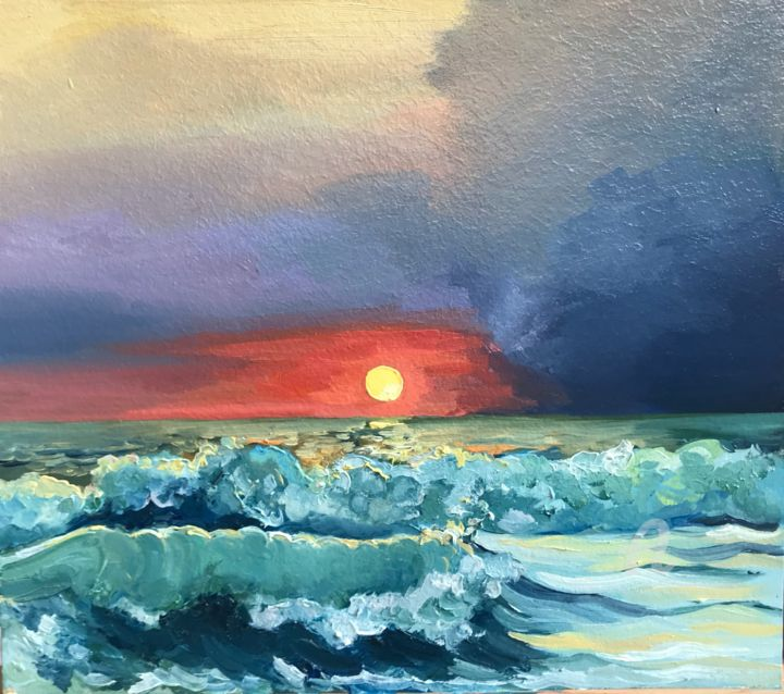 Stormy Sunset at Sea - Painting,  13.8x15.8 in, ©2020 by Leo Schteinberg -                                                                                                                                                                                                                                                                                                                                                                                                                                                                                                                                                                                                                                                                                                                                                                                                                                                                                                                                                          Classicism, classicism-933, Nature, Seascape, Seasons, Travel, Water, ocean, marine, nautic, contemporary coastal, turquoise, storm, seashore, beautiful sky, waves, leoschteinberg, leo schteinberg, ArtistSupportPledge, Support Artists