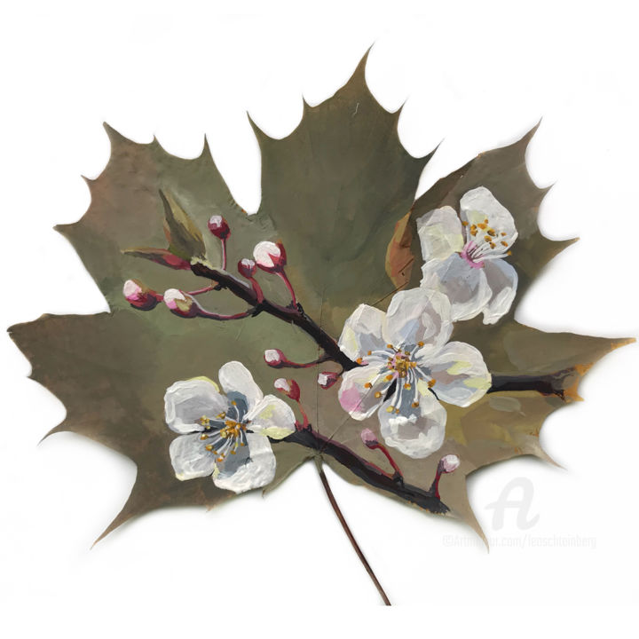 Cherry Blossom #2 - Painting,  10x10x1.8 in, ©2020 by Leo Schteinberg -                                                                                                                                                                                                                                                                                                                                                                                                                                                                                                                                                                                                                                                                                                                                                                                                                                                                                                                                                                                                      Conceptual Art, conceptual-art-579, Botanic, Colors, Flower, Seasons, Tree, leaf art, leaves, small painting, original work, painting on leaves, art on leaves, flower illustration, white painting, unusual art, maple leaf, leoschteinberg, leo schteinberg, ArtistSupportPledge, Support Artists