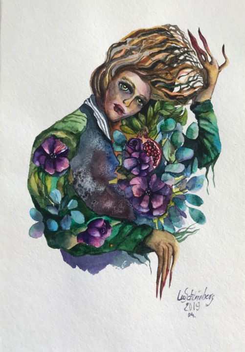 Granade Boy - Painting,  11.7x8.3 in, ©2019 by Leo Schteinberg -                                                                                                                                                                                                                                                                                                                                                                                                                                                                                                                                                                                                                                                                                                                                                                                                                                                                                                                                                                                                      Surrealism, surrealism-627, Body, Fairytales, Flower, Portraits, Women, pomegranate, beautiful eyes, green eyes, witch, spirit of the forest, figurative, watercolor portrait, leoschteinberg, leo schteinberg, ArtistSupportPledge, Support Artists, surreal art, purple flowers, violet
