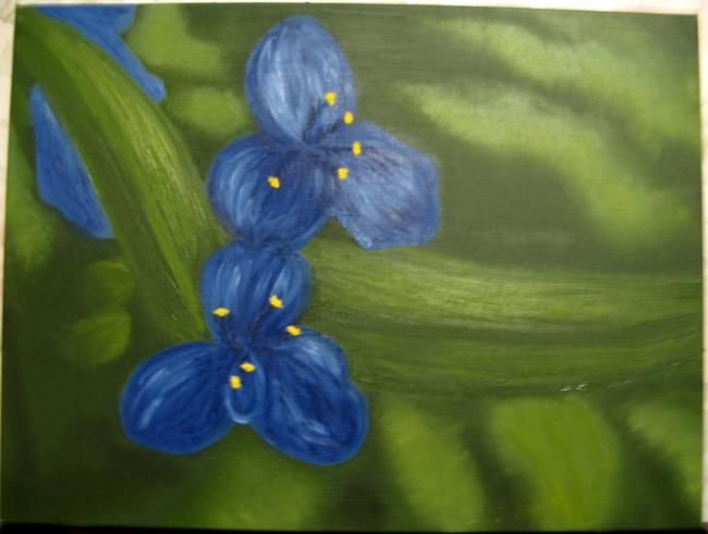 Blue flowers - Painting,  35x45 cm ©2006 by lepan -
