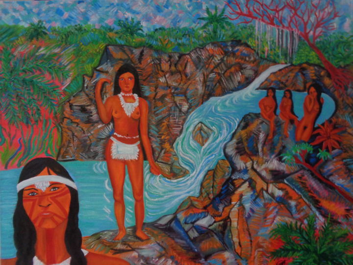 Indiens à la Cascade. Indians at the Cascade - Painting,  28.4x36.2x0.8 in, ©2018 by Virginie LE ROY -                                                                                                                                                                                                                                                                                                                  Impressionism, impressionism-603, World Culture, Indien, Caraibes, Tropical