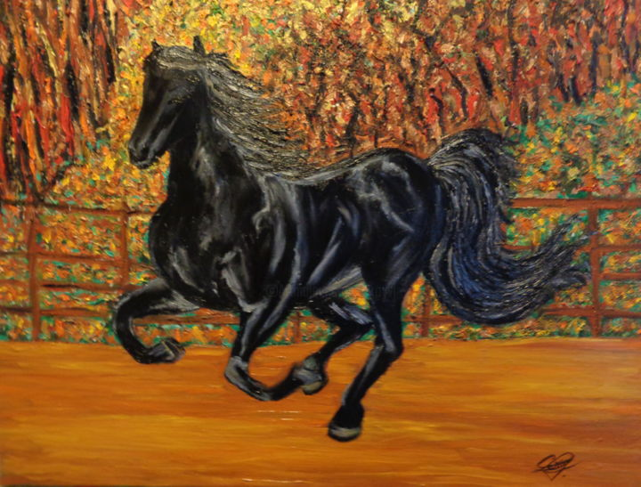 Au galop. - Painting,  18.1x21.7 in, ©2019 by Virginie LE ROY -                                                                                                                                                                                                                                                                      Impressionism, impressionism-603, Animals, Cheval, Galop