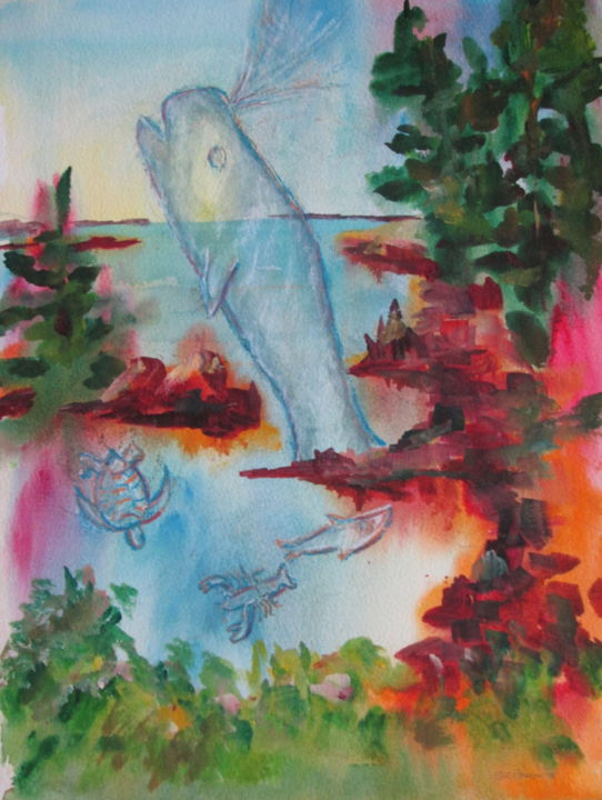 Critters of the Deep - Painting,  14x11 in, ©2018 by Lesley Braren -