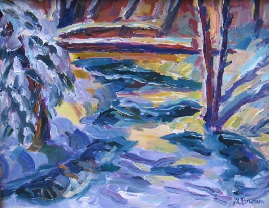 Winter Light - Painting,  8x10 in ©2004 by Lesley Braren -