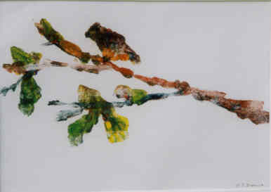 Bird Branch Ghost - Painting,  7x10 in ©2004 by Lesley Braren -