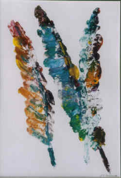 Feathers - Printmaking,  10x7 in, ©2004 by Lesley Braren -