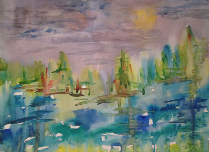 Along the River - Painting,  11x14 in, ©2019 by Lesley Braren -