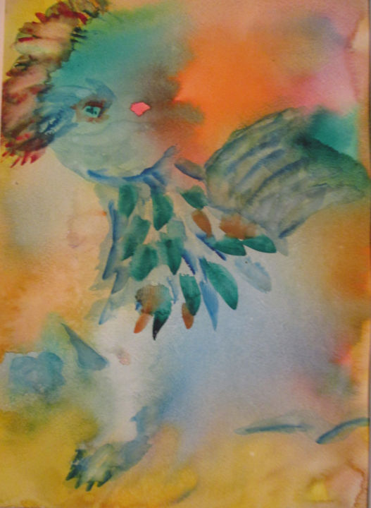 Feather Dance - Painting,  14x11 in, ©2019 by Lesley Braren -