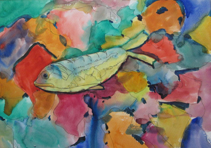 Ode to fish - Painting,  11x14 in, ©2019 by Lesley Braren -