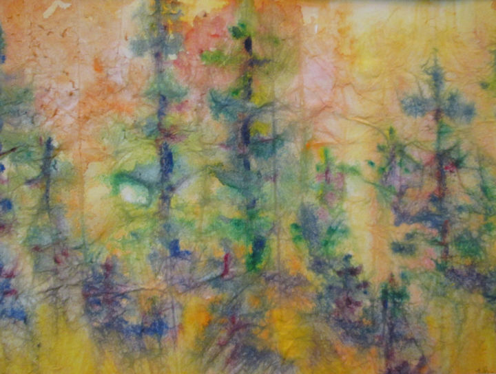 Textured Forest - Painting,  7x10 in, ©2019 by Lesley Braren -
