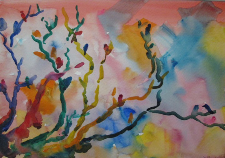 Bird Tree - Painting,  7x10 in, ©2019 by Lesley Braren -