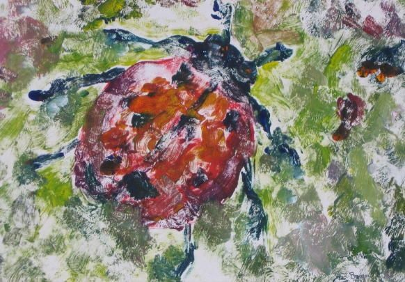 Ladybug - Painting,  7x10 in ©2007 by Lesley Braren -