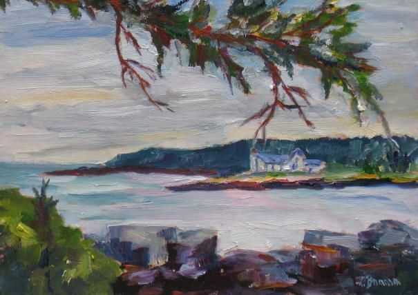 Winter Harbor Light - Painting,  6x8 in, ©2007 by Lesley Braren -
