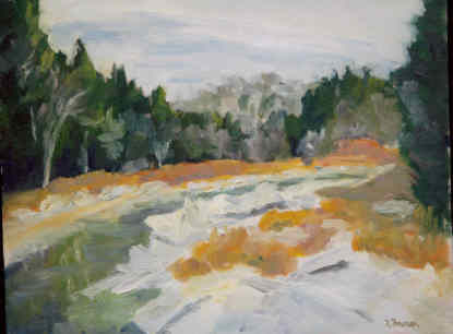Shore Ice - Painting,  11x14 in, ©1999 by Lesley Braren -