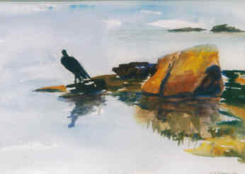 Cormorant - Painting,  7x10 in, ©2003 by Lesley Braren -