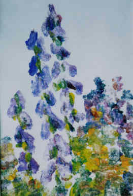 Purple Flowers Ghost - Painting,  10x7 in ©2006 by Lesley Braren -