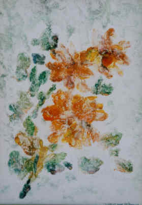Roses Ghost - Painting,  10x7 in ©2002 by Lesley Braren -