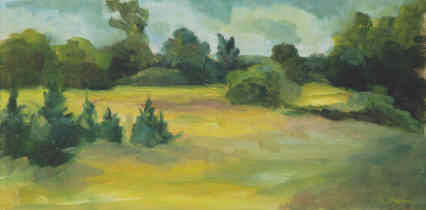 Meadow at Lawsons - Painting,  8x16 in, ©1998 by Lesley Braren -