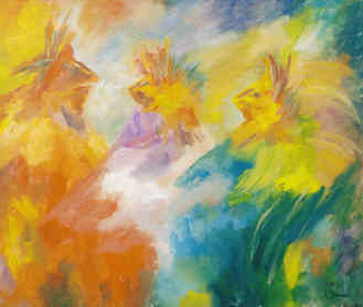 Palette Dancers - Painting,  20x24 in ©2003 by Lesley Braren -