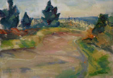 Shore Road - Painting,  6x8 in ©1999 by Lesley Braren -