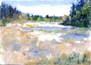 Wild Marsh - Painting,  6x8 in, ©2008 by Lesley Braren -