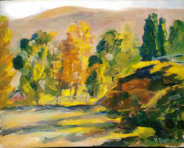 Vermont Morning Light - Painting,  8x10x0.4 in, ©2004 by Lesley Braren -