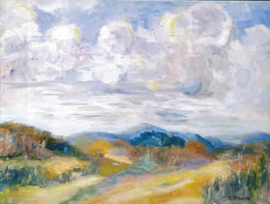Vermont Vista - Painting,  9x12 in ©2003 by Lesley Braren -