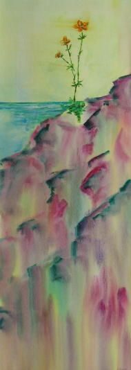 Out of the Rocks - Painting,  30x11 in ©2008 by Lesley Braren -