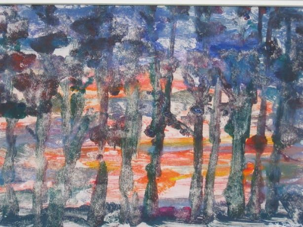 Tree Line Sunset - Painting,  6.5x9.5 in, ©2008 by Lesley Braren -